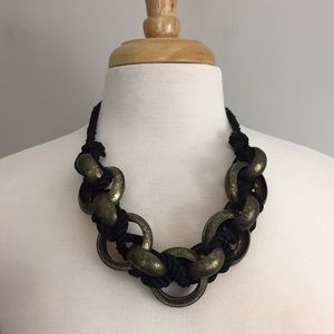 Chunky Black Corded Metallic Circle Necklace